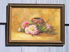 Vintage Floral Painting Art Crafts Art Nouveau Picture Frame 12 x 18