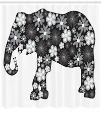 Animal Shower Curtain Floral Elephant Pattern Print for Bathroom 70 Inches Long
