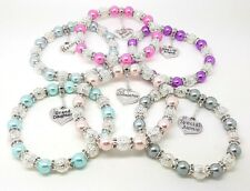Personalised Variety Of Colours Family Charm Bracelet Christmas Birthday Gift