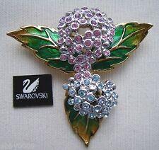 Signed Swan Swarovski Hydrangea Brooch Pin