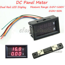 DC 100V 50A Voltmeter Ammeter Red LED Amp Dual Digital Volt Meter Gauge 12V 24V