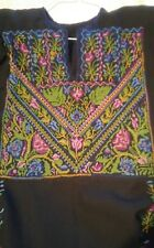 Authentic Vintage Ethnic Palestinian Hand Embroidery Cross Stitch Dress Kaftan