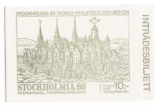 "SWEDEN: RRR-1986 BOOKLET WITH UNUSED ""STOCKHOLMIA 86"" TICKET-Facit #H371A"