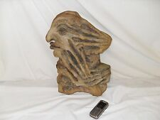 Unique Abstract Screaming Face Clay Sculpture - Fey Mythical Woodland