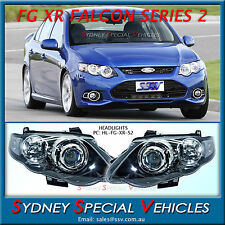 HEADLIGHTS FOR FG XR6 XR8 FALCON MARK 2 SERIES 2 BLACK PROJECTOR PAIR NEW