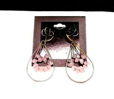 Gold Toned Simulated Rose Quartz Dangle Drop Earrings