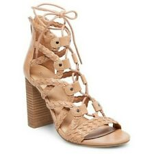 10083625e5f9 Merona Women s Kolbi Lace Up Gladiator Braided Taupe Heel Sandals -Size  9.5