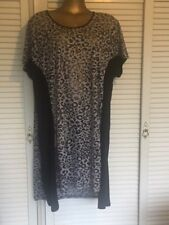TS Long Top Silver & Black with Leopard Print, Short Sleeves Sz 18-20