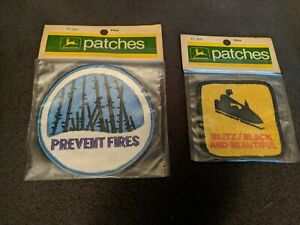 2 Vintage NOS John Deere Snowmobile Patch Prevent Fires Blitz Black Beautiful