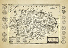 Norfolk County Map by Herman Moll 1724 - Reproduction