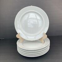 """Set of 6 DANSK International Designs Cafe Blanc 9"""" Salad Plates White Thailand"""