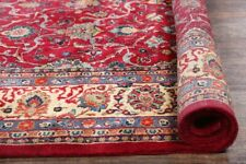 Vegetable Dye All-Over Floral Sarouk Burgundy Area Rug Hand-Knotted Wool 10x13