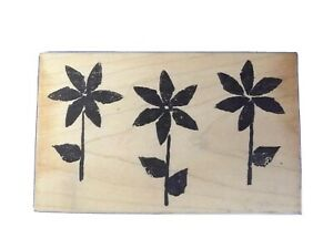 TRIO OF FLOWERS Rubber Stamp on Wood - Artful Stamper Scrapbook Stamping SALE