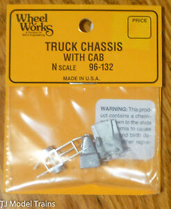 Wheel Works N #96132 Truck chassis w/cab  (Kit) Light Cast Metal (1:160th Scale)