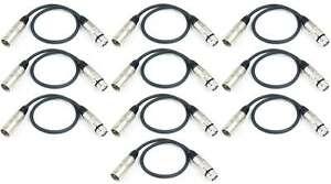 10x 0,5 m 3 pol Mikrofonkabel XLR male auf female - DMX Mikrofon Kabel Adam Hall