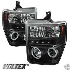 2008-2010 FORD F250 350 SUPER DUTY CCFL LED PROJECTOR HEADLIGHTS LIGHTBAR BLACK