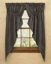 "Country Primitive Sturbridge Black Prairie Swag 63"" Rustic Plaid Farmhouse"