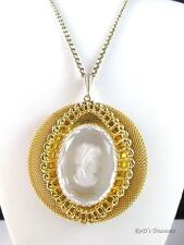 Vintage WHITING & DAVIS Clear Intaglio Cameo Pendant Necklace