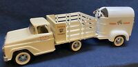 Custom 1959 Tonka Farm Stake Truck W/ Horse Trailer & Two Horses  Excellent Cond
