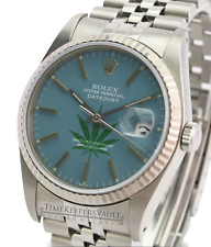 Rolex Datejust Mens  16234 SS Airforce Blue 420 Dial Fluted Bezel Jubilee Band