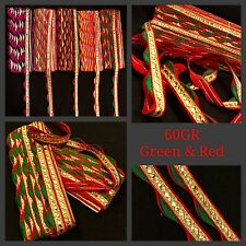 9 Meter Fancy Gold Green Tape Ribbon Indian Sari Border Red Lace Sew On Trim
