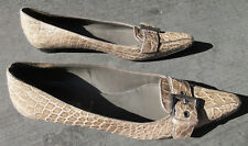 PRADA ITALY #2950 TAN CROCODILE BUCKLE POINTY TOE FLAT WOMENS SHOES SIZE 37.5