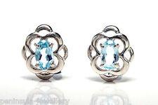 Sterling Silver Blue Topaz Celtic Stud Earrings Gift Boxed Studs Made in UK