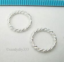 6x BRIGHT STERLING SILVER CLOSED TWIST ROUND JUMP RING SPACER BEAD 12mm #2557