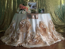 """120"""" Champagne Rose Tablecloth, Champagne Rosette Tablecloth"""