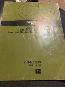 JOHN  DEERE 210 212 214 LAWN GARDEN TRACTOR OPERATORS MANUAL