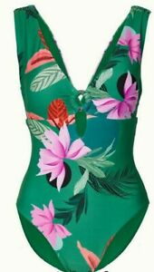 BNWT M&S Rosie Autograph Secret Slimming green floral plunge swimsuit 8 10