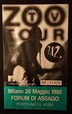 BIGLIETTO/TICKET U2 MILANO 22 MAGGIO 1992 ZOO TV TOUR FORUM DI ASSAGO