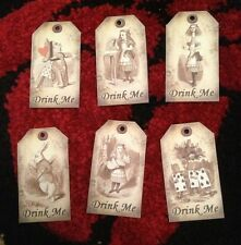 6 Alice in wonderland Drink Me tags  vintage Birthday tea party Decorations