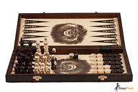 TOURNAMENT CHESS BACKGAMMON DRAUGHTS SET 40cm !!! STAUNTON DESIGN CHESSMEN!!