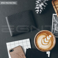 EGNT Trifold Carbon Wallet RFID COIN GENUINE LEATHER LUXURY BIFOLD SLIM MENS ID