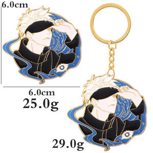 Anime Jujutsu Kaisen Keychain Pin Gojo Satoru Badge Keyring Pendant