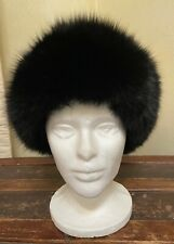 Vintage Black FOX fur Military Russian Silky Winter Hat GORGEOUS quality