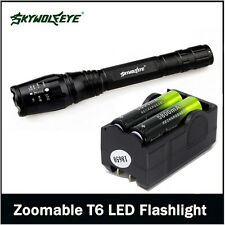 Zoomable 12000 Lumen 5 Modes XML T6 LED Torch Flashlight 18650&Charger LL