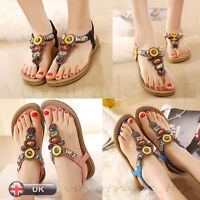 UK Summer Bohemia Toe Flats Flip Flops Women Ladies Girl Sandals Beach Slippers