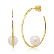 Womens 14K Solid Yellow Gold Natural 8.5 MM Fresh Water Real Pearl Hoop Earrings