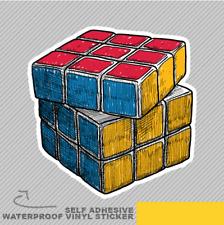 Drawn Rubik Cube Couleur Carrés Vinyle Sticker Autocollant Fenêtre Voiture Van Vélo 2342