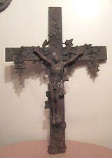 huge antique rare solid heavy cast iron religious Jesus Christ crucifix cross