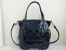 Coach NWT 19571 Audrey Patent Leather Cinch North South Tote Navy
