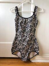 Women's Vintage JANTZEN swimsuit Black and White Floral Print Med Scoop Back
