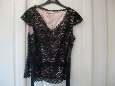 Jacques Vert Black Lace Belted Top Size 14 -new
