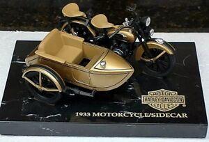 HARLEY DAVIDSON ULTRA EDITION 1933 GOLD & BLACK MOTORCYCLE SIDECAR BANK 1:12