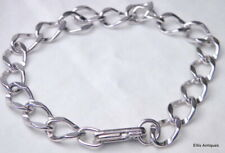 Bracelet Chain 1960's 7.25 Rhodium Plated Vintage Sterling Curb Link Wide Charm
