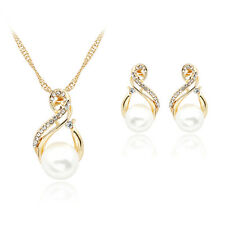 Pearl Crystal Rhinestone Pendant Necklace Earrings Studs Jewelry Set Wedding