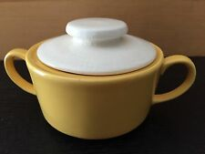 Mount Clemens Pottery MCP Sugar Bowl Yellow with White Lid