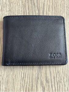 New Hugo Boss Bifold Leather Wallet Credit Cardholder Black